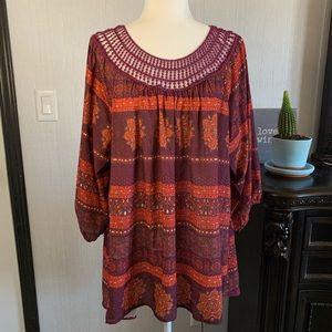 EYEOHADOW boho 3/4 sleeve crochet neck size 2x